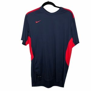 Nike Blue Red Men's Dri Fit T Shirt Size Large